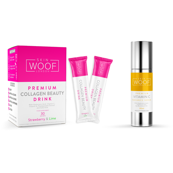 SKIN WOOF COLLAGEN BEAUTY DRINK 30 SACHETS (STRAWBERRY & LIME) + SKIN WOOF VITAMIN C RADIANCE SERUM