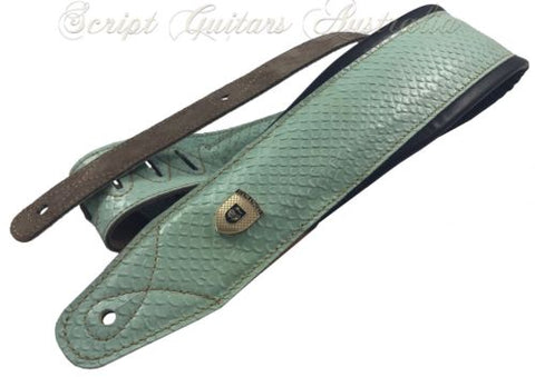 "Genuine Leather Soft Padded SUPREME ""Aqua Mist"" Guitar Strap"