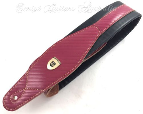"Genuine Leather Soft Padded ""Pink Rope Liquorice"" Guitar Strap"
