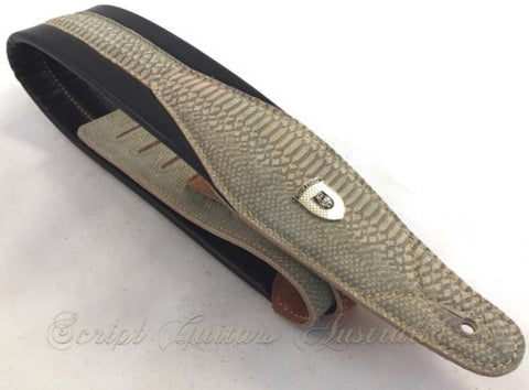 "Genuine Leather Super Soft Padded  ""Lost Tracks"" Guitar Strap"