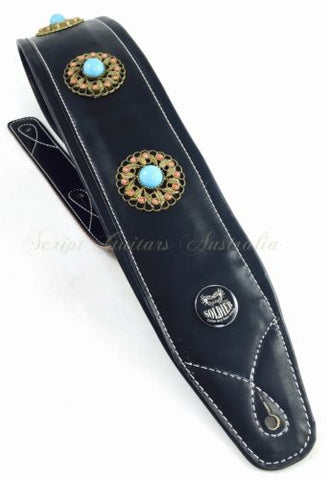 Dual Synthetic & Genuine Leather Soft Padded XL MIDNIGHT MEDALLION Guitar Strap