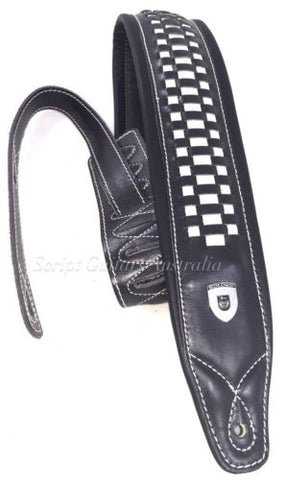 Genuine Leather Soft Padded 100% HAND MADE  Black with White Weave Guitar Strap