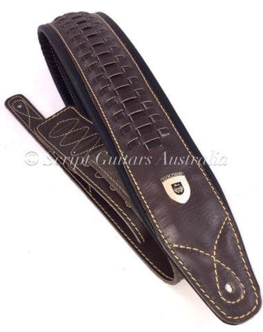Genuine Leather HAND MADE & WEAVED Padded Guitar Strap Electric, Acoustic, Bass