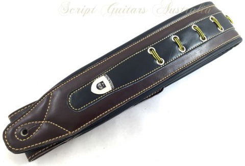 "Genuine Leather Soft Padded ""Laced Up"" Supreme Guitar Strap"