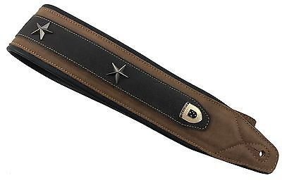 "Genuine Leather Soft Padded  ""4 STAR GENERAL""  Supreme SCRIPT Guitar Strap"