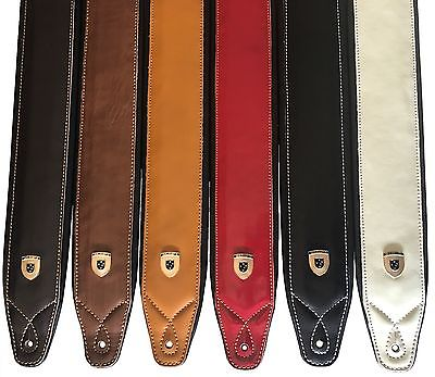Genuine Leather Soft Padded 2x SCRIPT Supreme Guitar Straps - Choose 2 colours
