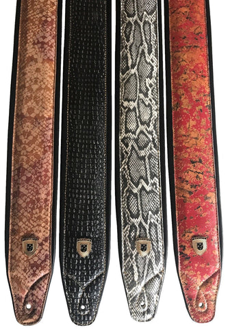 Genuine Leather Soft Padded Variation Supreme SCRIPT Guitar Strap
