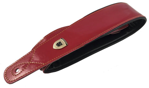 Genuine Leather Soft Padded Red SLIM Supreme SCRIPT Guitar Strap