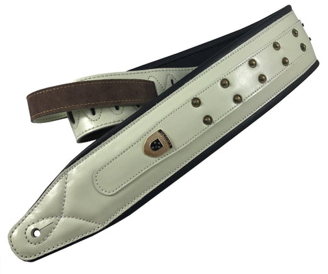 Genuine Leather Soft Padded 'Heavy Studded' White SCRIPT Supreme  Guitar Strap
