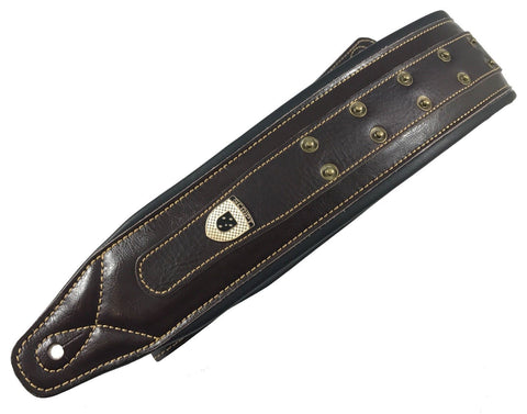 Genuine Leather Soft Padded 'Heavy Studded' SCRIPT Supreme Guitar Strap
