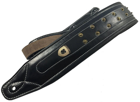 "Genuine Leather Soft Padded ""HEAVY STUDDED""  Black  SCRIPT Supreme Guitar Strap"