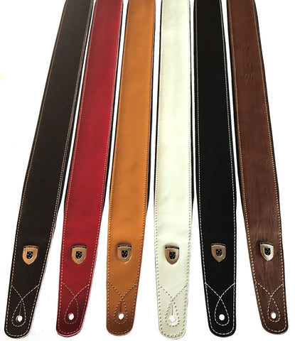 "Genuine Leather Soft Padded ""SLIM SUPREME"" SCRIPT Guitar strap"
