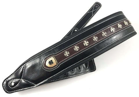 "Genuine Leather Soft Padded Black with Brown ""IRON CROSS""  SCRIPT Guitar Strap"