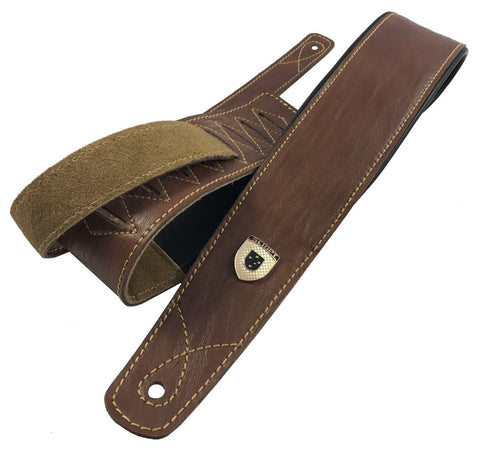 "Genuine Leather Soft Padded Light Brown ""SLIM Supreme"" SCRIPT Guitar Strap"