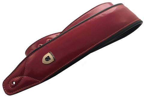 Genuine Leather Soft Padded RED Supreme SCRIPT Guitar Strap