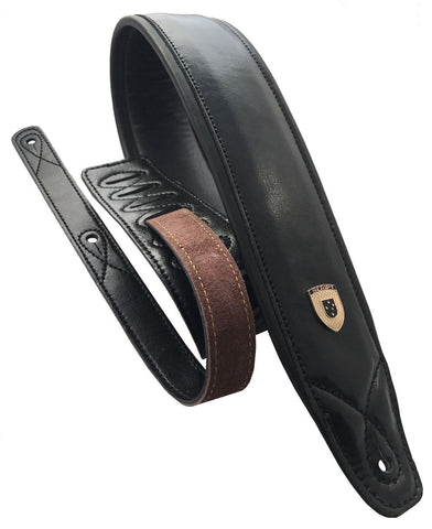 "Genuine Leather Soft Padded  ""ALL BLACK""  Supreme SCRIPT Guitar Strap"