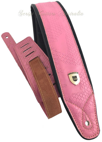 Genuine Leather Soft Padded HOT ROD PINK Supreme Guitar Strap