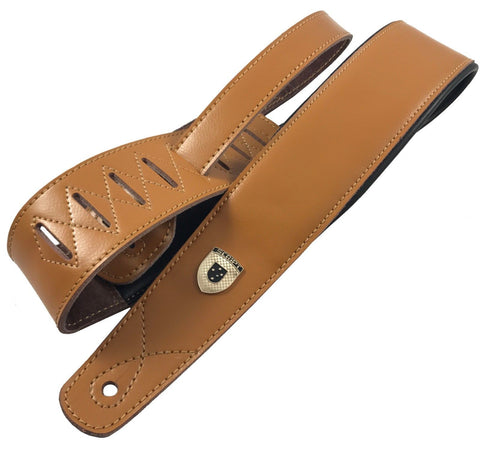 "Genuine Leather Soft Padded TAN ""SLIM Supreme"" SCRIPT Guitar Strap"