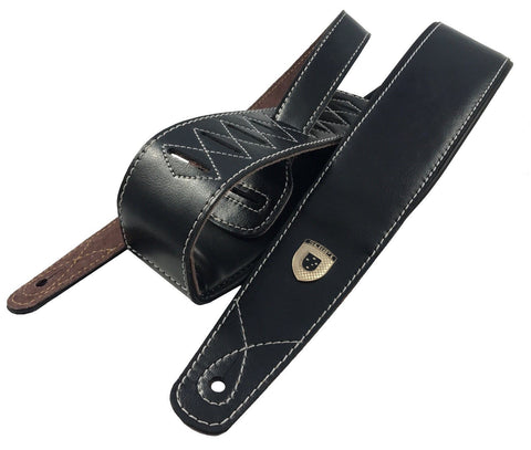 Genuine Leather Soft Padded Black SLIM Supreme SCRIPT Guitar Strap
