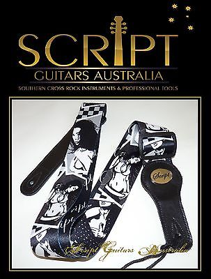 "100% Leather Ends SCRIPT Guitar Strap "" Rock & Roll Sweetheart """
