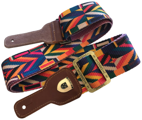 """KINDRED SPIRIT"" Multi Colour Extra Long SCRIPT Guitar strap with Leather Ends"