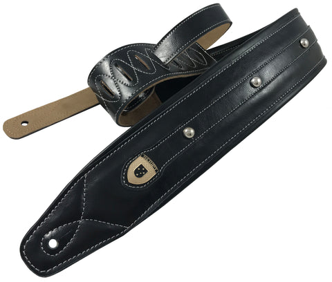 "Genuine Leather Soft Padded Black ""Simple Bolted"" SCRIPT Supreme Guitar Strap"