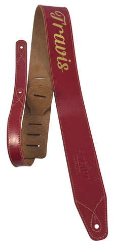 Deluxe Personalised Red Leather SCRIPT Guitar Strap