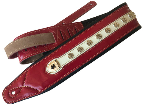 "Leather Soft Padded ""BLOOD RED & BONE"" Iron Cross SCRIPT Supreme Guitar Strap"