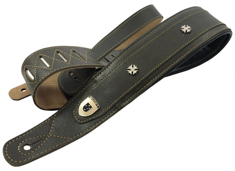"Genuine Leather Soft Padded SLIM ""Iron Cross"" Supreme SCRIPT Guitar Strap"