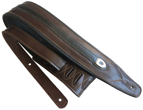 Genuine Leather Soft Padded Brown with Black Strip Supreme SCRIPT Guitar Strap