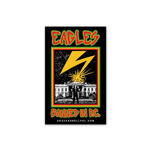 "Buy Now – ""Banned In DC"" Sticker – Philly & Sports Merch – Cracked Bell"