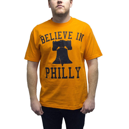 "Buy Now – ""Believe in Philly V1"" Orange Shirt – Philly & Sports Merch – Cracked Bell"