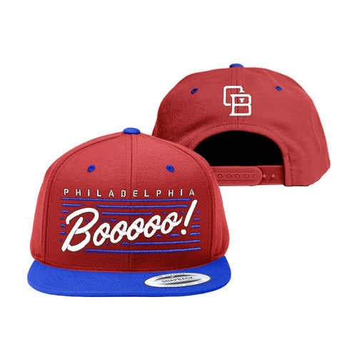 "Buy Now – ""Boo"" Red/Blue Snapback – Philly & Sports Merch – Cracked Bell"