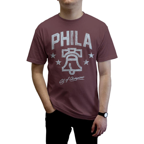 "Buy Now – ""City of Champions"" Burgundy Shirt – Philly & Sports Merch – Cracked Bell"