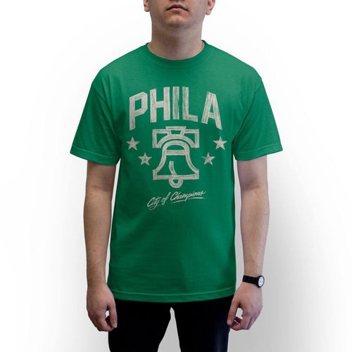 "Buy Now – ""City of Champions"" Kelly Shirt – Philly & Sports Merch – Cracked Bell"
