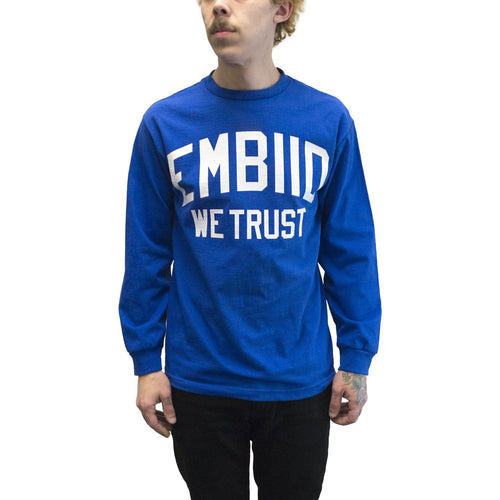 "Buy Now – ""Embiid We Trust"" Long Sleeve – Philly & Sports Merch – Cracked Bell"