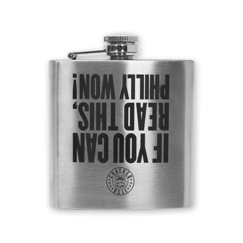 "Buy Now – ""Philly Won"" Aluminum Flask – Philly & Sports Merch – Cracked Bell"