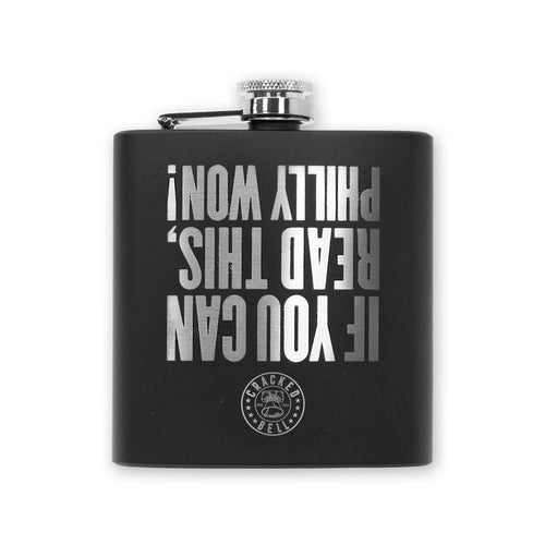"Buy Now – ""Philly Won"" Black Flask – Philly & Sports Merch – Cracked Bell"