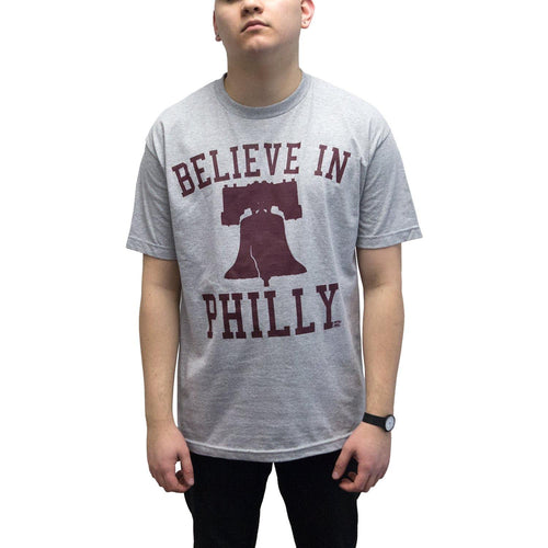 "Buy Now – ""Believe in Philly V1"" Ath. Heather/Maroon Shirt – Philly & Sports Merch – Cracked Bell"