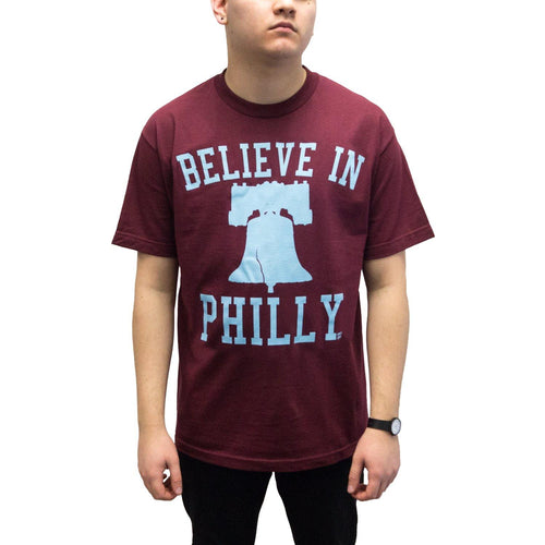 "Buy Now – ""Believe in Philly V1"" Maroon Shirt – Philly & Sports Merch – Cracked Bell"