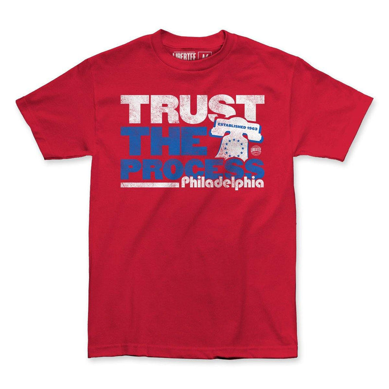 "Buy Now – ""Trust The Process"" Shirt – Philly & Sports Merch – Cracked Bell"