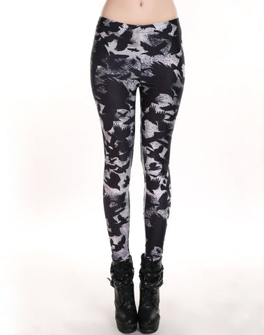 Womens Trendy Black Bird Scarecrow Hip Leggings