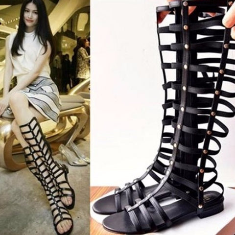Trendy Black Gladiator Knee High Stylish Sandals
