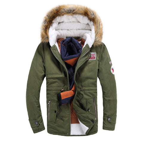 Mens Trendy Fur Lined Hooded Jacket