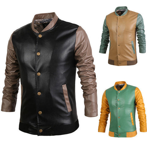 Mens Slim Long Sleeve Edgy PU Jacket