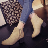 Womens Classic Ankle Heel Stylish Zip Boots