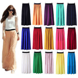 Womens Double Layer Chiffon Pleated Long Maxi Elastic Skirt