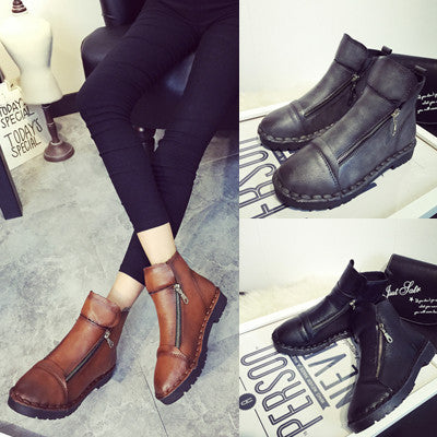 Womens Casual High-Top Zip Boots