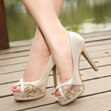 Womens Lace Open Toe Pumps Heels