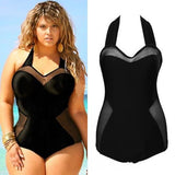 Womens Sexy Black Plus Size One-Piece Retro Swimsuit